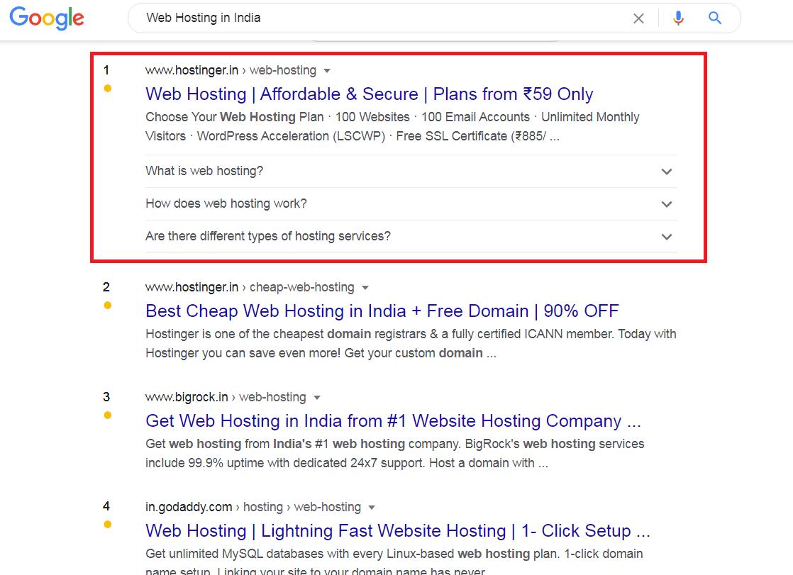 Hostinger No1 hosting on Google Search