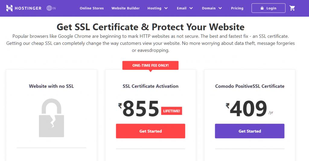 Hostinger SSL Certificate Pricing