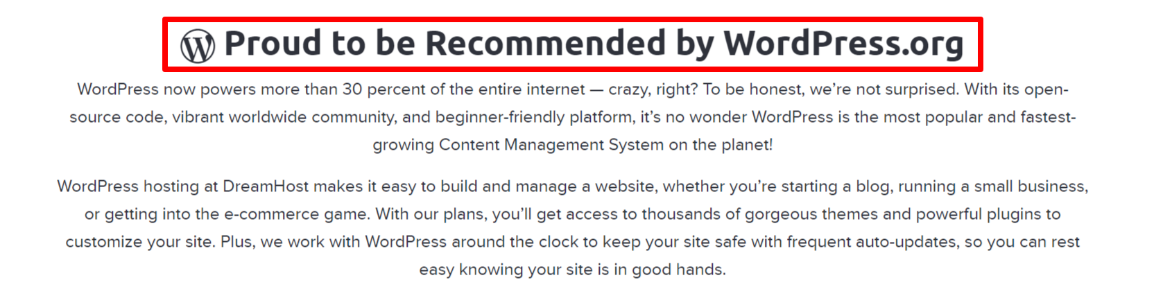 Recommended by WordPress.org