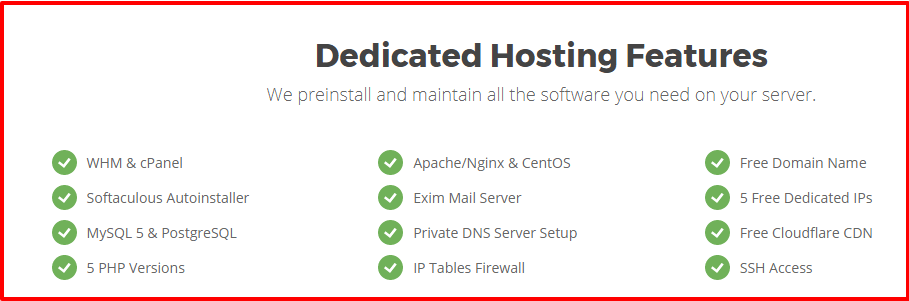 Siteground Dedicated Servers Features