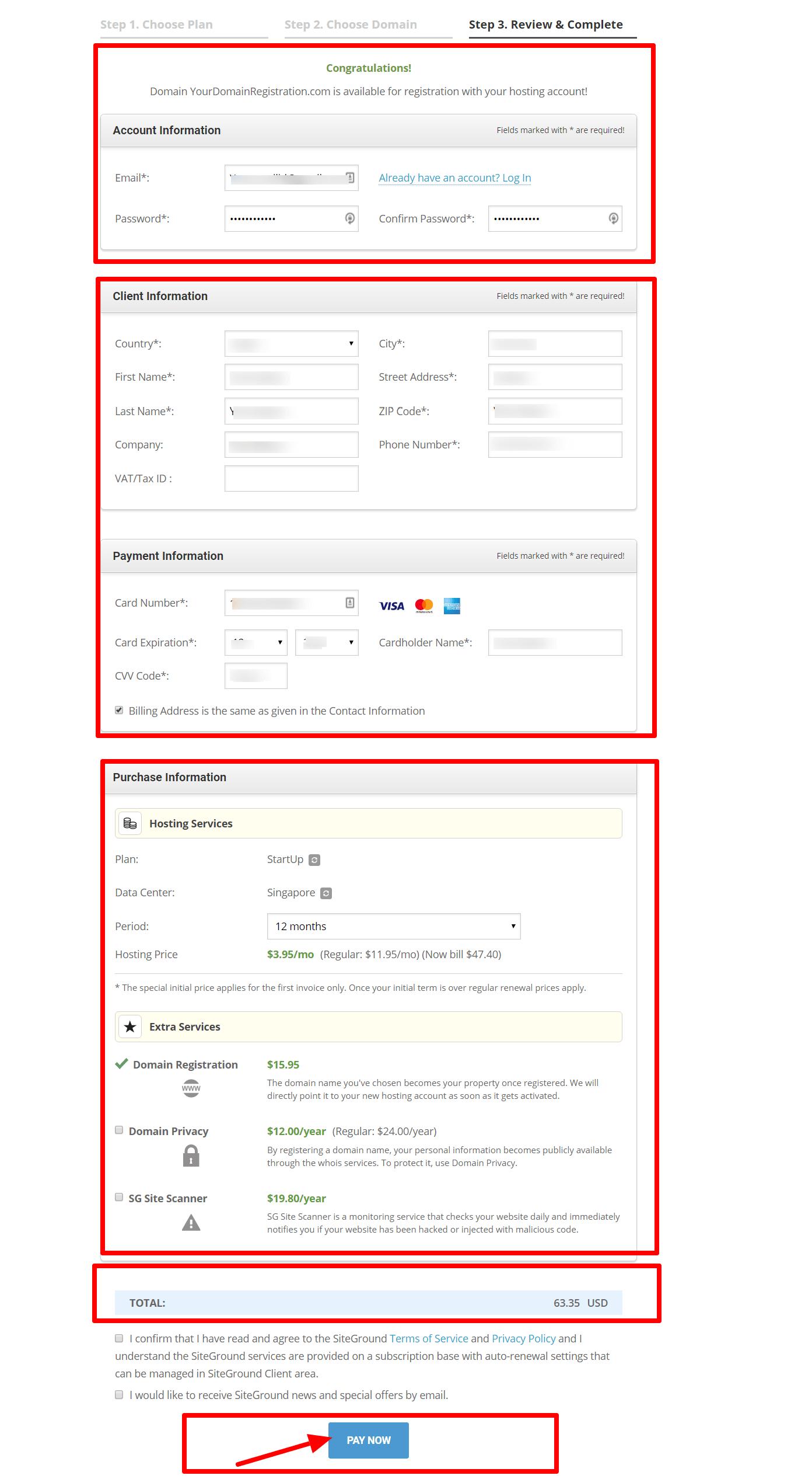 Web Hosting Order