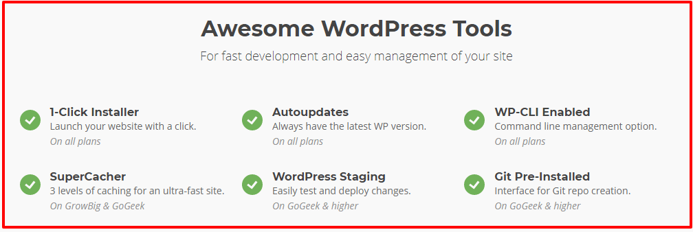 Siteground WordPress Hosting Features